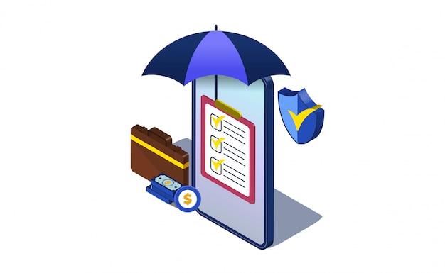 Geschäftsversicherungsillustrationskonzept mit isometric.umbrella, tasche und schild