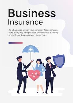 Geschäftsversicherungsschablonenvektor für plakat