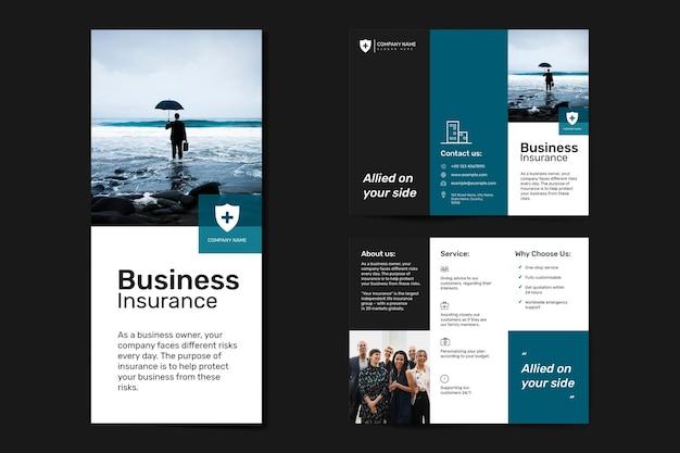 Geschäftsversicherungsschablonenvektor mit bearbeitbarem textsatz