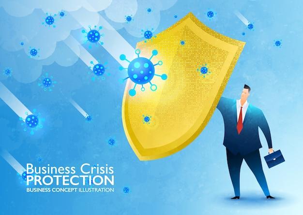 Geschäftsversicherungsschutzvektorillustration mit geschäftsmann, der goldenen schild gegen coronavirus-krise hält