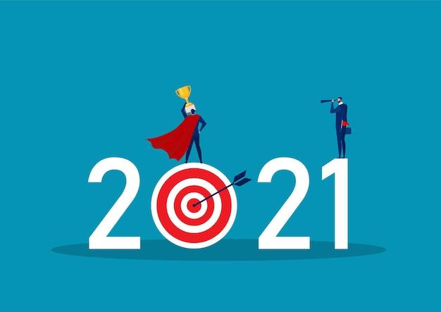 Geschäftsvision mit fernglas für möglichkeiten in fernglas auf 2021 jahre das ziel
