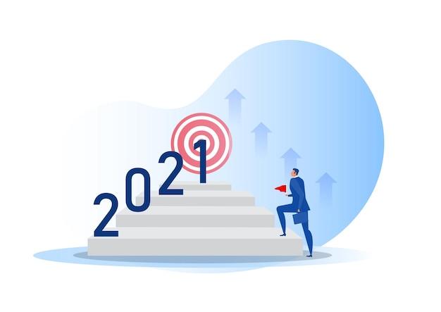 Geschäftsvision mit ziel für chancen auf 2021 jahre.