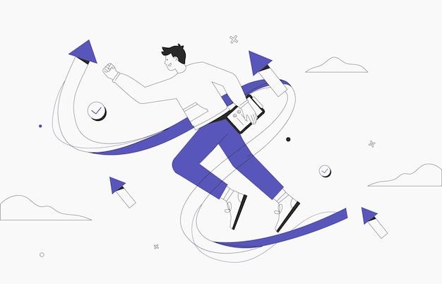 Geschäftsvision, strategie-erfolgskonzept. start eines geschäftsprojekts, geschäftsmann auf dem weg zum ziel, erfolgreiches startup. flache artvektorillustration.