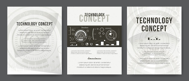 Geschäftsvorlage. broschüre design, moderne layout, jahresbericht, poster, flyer. abstrakte moderne hintergründe. mobile technologien, anwendungen, onlinedienste infografik-konzept. hud, techno, wirtschaft, ui.