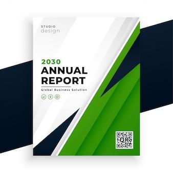 Geschäftsvorlage des geometrischen grünen abstrakten geschäftsberichtsfliegerberichts