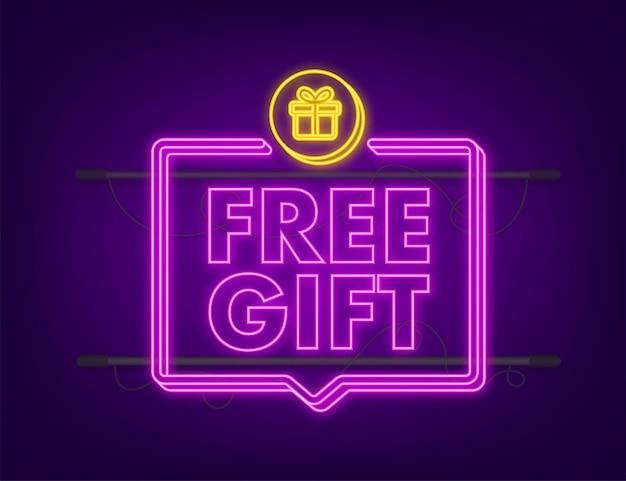 Geschäftsvorlage mit rotem gratisgeschenk für bannerdesign. neon-symbol. vektor-business-vorlage. geschenkbox-symbol präsentieren.