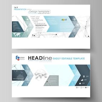 Geschäftsvorlagen im hd-format für präsentationsfolien. abstrakte layouts in wohnung. chemiemuster, verbindungslinien und punkte, molekülstruktur auf weißer, geometrischer grafik