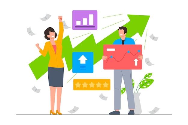 Geschäftswachstum in finanz- und ratingvektorillustrationen