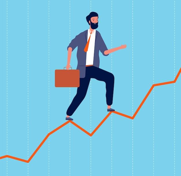 Geschäftswachstum. manager, der karriere macht und auf dem professionellen strategiekonzept der grafikkarte ganz oben steht. professionelle illustration des karrieregrafikwachstums
