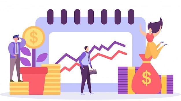 Geschäftswachstum, planung und analyse, geschäftsstrategie, gewinn machen, personencharakter-cartoonillustration.