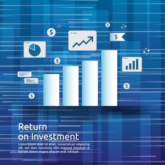 Geschäftswachstumsdiagramm und pfeiltabelle erhöhen sich zum erfolg. return on investment roi oder gewinnsteigerung.