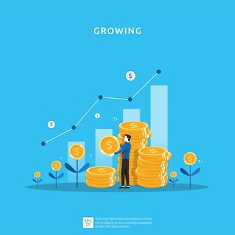 Geschäftswachstumsillustration für intelligentes investitionskonzept. gewinnentwicklung oder einkommen mit stapelmünzensymbol für den return on investment roi