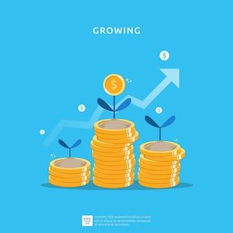 Geschäftswachstumsillustration für intelligentes investitionskonzept. gewinnleistung oder einkommen mit stapelmünzen symbol der kapitalrendite roi
