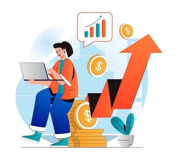 Geschäftswachstumskonzept im modernen flachen design geschäftsfrau-analysedaten am laptop