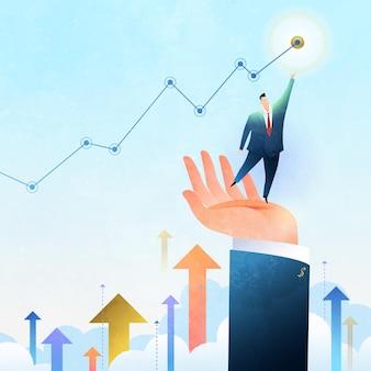 Geschäftswachstumskonzeptillustration des geschäftsmannes, der auf der hand steht, die zum ziel steigt