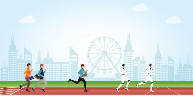 Geschäftswettbewerb mit karikatur des menschen und der künstlichen intelligenz auf athletischer bahn auf stadtansichthintergrund.