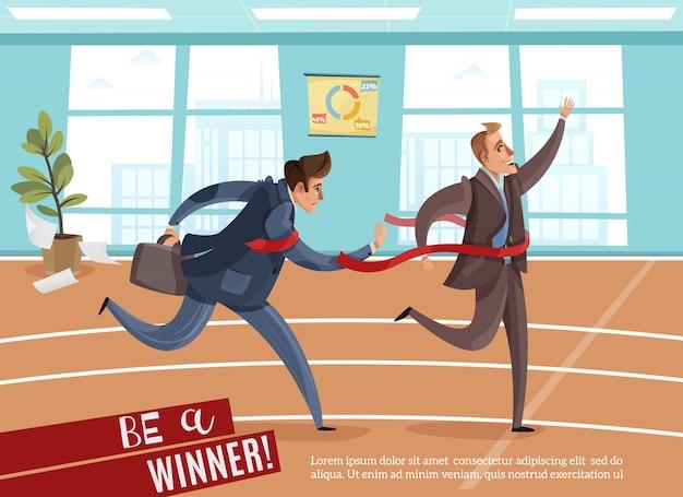 Geschäftswettbewerbs-siegerverlierer mit editierbarem text und innenansicht des büros mit athletischer bahn