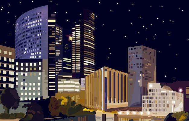Geschäftszentrum bei nacht