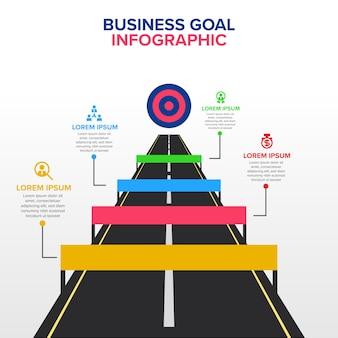 Geschäftsziel infographic-schablone mit hindernis