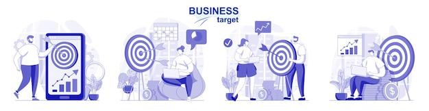 Geschäftsziel isoliert in flachem design gesetzt leistungsziele der menschen entwickeln erfolgsstrategie