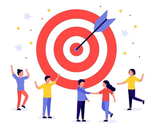 Geschäftsziel mit pfeil und personen. teamwork, ziel, motivation, zielerreichung, erfolgreiches konzept. treffen sie genau das ziel, das bullauge. spielpfeil. flache illustration