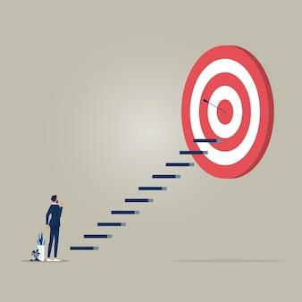 Geschäftsziel oder objektives vektorkonzept mit geschäftsmann steht auf dem weg, das ziel zu erreichen