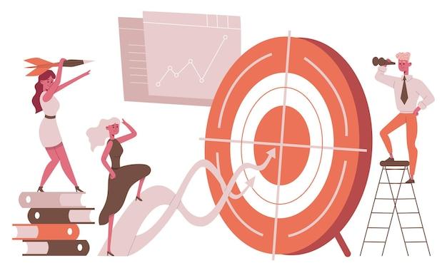 Geschäftsziel zielmetapher. karrierezielerreichung, erfolgreiche geschäftsleute zielen auf fokussierte vektorgrafiken ab. geschäftsziele erreichen