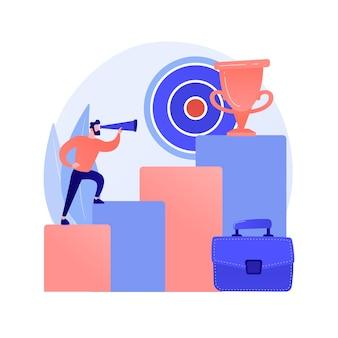 Geschäftsziele setzen. unternehmensentwicklung, steigerung des einkommens, streben nach führung. einkommenssteigerung des geschäftsmannes. erfolgreicher unternehmer.
