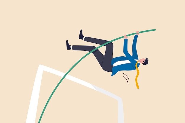 Geschäftszielerreichung, erfolg bei der lösung von geschäftsproblemen oder erfolg überleben auf finanzkrisenkonzept, erfolgreicher selbstbewusster geschäftsmannführer springendes stabhochsprung.