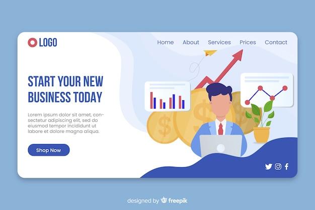 Geschäftszielseite mit informationen