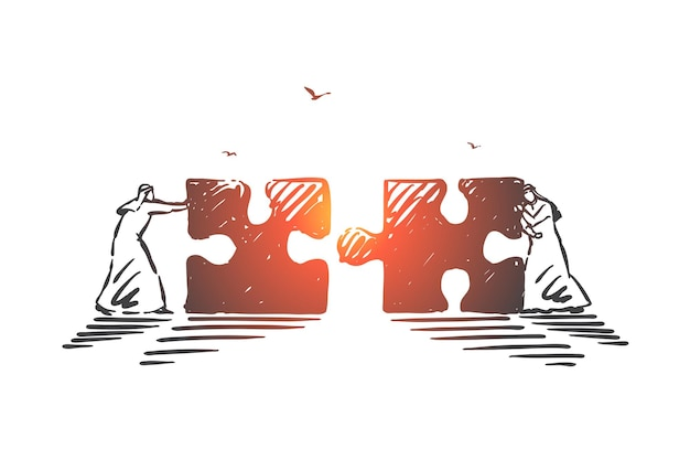 Geschäftszusammenarbeit, illustration des kooperationskonzepts