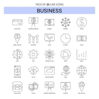 Geschäftszweig-ikonen-set - 25 gestrichelte entwurfs-art