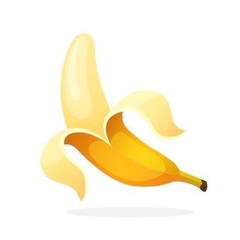 Geschälte banane gesundes vegetarisches essen vektor-illustration