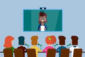 Geschäfts-Leute gruppieren Web-virtuelle Internet-Konferenz