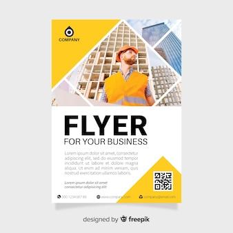 Geschäftsfliegerschablone mit Mosaikbildern