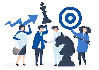 Geschäftsleute, die Ziel- und Strategieikonenillustration halten