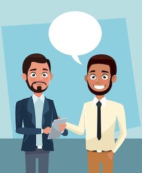 Geschäftsleute sprechen Cartoons