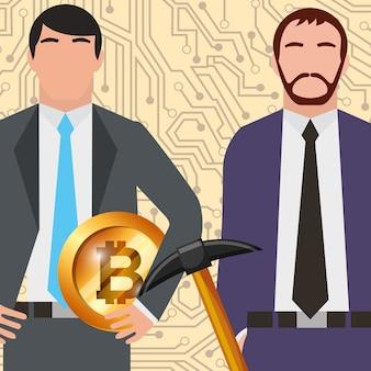 Geschäftsmann Bitcoin Bitcoin und Spitzhacke Netzwerk
