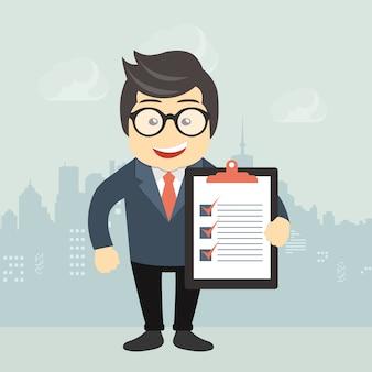 Geschäftsmann, der ein Dokument anhält