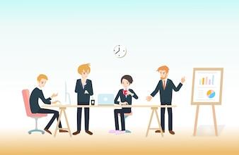 Geschäftsmann, der mit Team auf kreativem Ideenprojekt für die analysierende Firma finanziell arbeitet