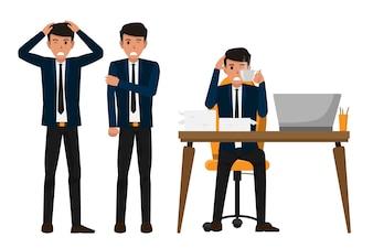 Geschäftsmann, die Büro-Syndrom und Krankheit haben