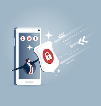 Geschäftsmann heraus von einem intelligenten Telefon mit einem Schild - Geschäftskonzept