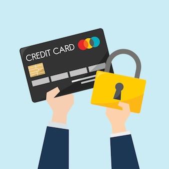 Geschäftsmann mit Kreditkarte und Schutz