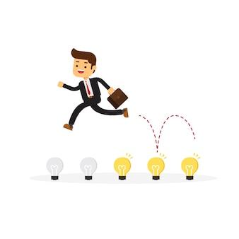 Geschäftsmann springen auf Glühlampen