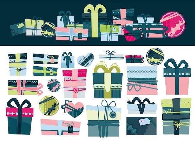 Geschenk für verschiedene feiertage, geschenke zum geburtstag, valentinstag, weihnachten und neujahr. schachteln mit dekorativer verpackung und bändern. jubiläen und romantische überraschungen. verpackungsset. vektor im flachen stil