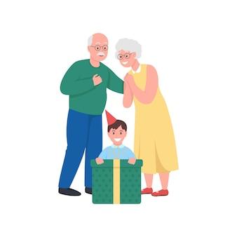 Geschenk geben großeltern mit enkel flache farbe cartoon illustration Premium Vektoren
