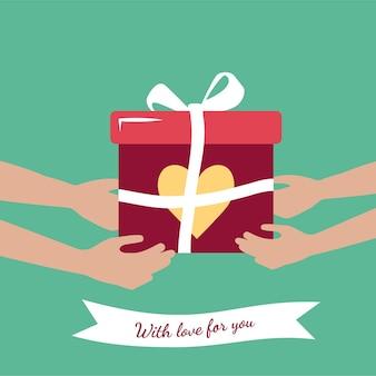 Geschenk in einer box mit schleife und einer aufschrift mit liebe für dich. schnelle lieferung einer bestellung in einer box mit herz zum valentinstag, frauentag, muttertag. für eine frau, freundin, freund