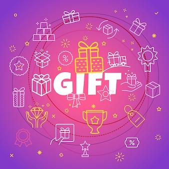 Geschenk-konzept. verschiedene dünne linie symbole enthalten