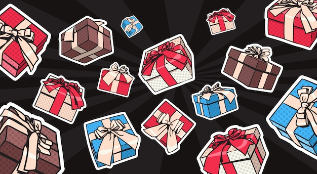 Geschenk oder geschenkboxen mit bogen und band auf schwarzem hintergrund