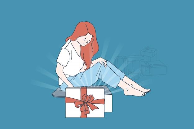 Geschenk, überraschungszufriedenheitskonzept